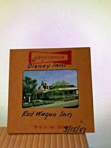 1957 DISNEYLAND Kodak Red Border 35mm SLIDE - Red Wagon Inn