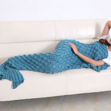Adult Super Soft Hand Crocheted Mermaid Tail Blanket Sleeping Bag Blue
