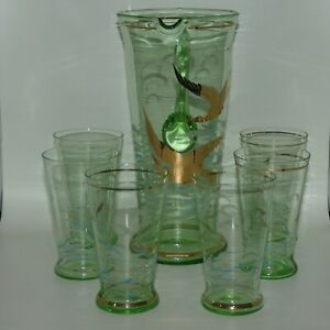 Vintage Retro Green Glass 7 piece water set Gilt Birds and applied decoration