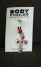 Belly Button  Ring - Silver Cross with Red Stones - NWT