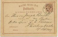 "DT.REICH ""GLAUCHAU"" (Sachsen) K1 a. ½ Gr rötlichbraun Kab.-GA-Postkarte ABART!!!"
