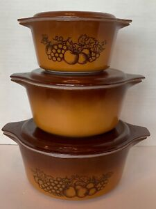 Vintage Pyrex Old Orchard Brown Casserole Set with Lids 473, 474 475