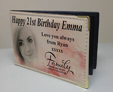 Personalised faux leather photo album, memory book, happy 21st birthday gift