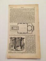 K65) Plan of Temple at Baalbek Lebanon Architecture History 1842 Engraving