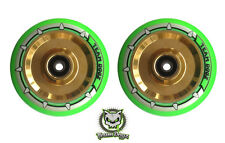 Pair Team Dogz Neon Green Chrome Gold 100mm Scooter Alloy Hollow Core Wheels