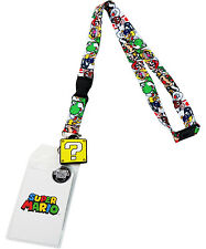 Nintendo Super Mario Brothers Lanyard Sticker ID Holder & Question Mark Charm