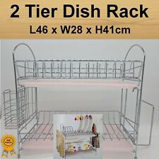 2 Tier Stainless Steel Dish Dry Rack Cutlery Cutboard Holder- 2x removable tray