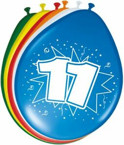 """8 X NUMBER 11 LATEX BALLOONS AGE 11TH BIRTHDAY - ASSORTED COLOURS 30CM (12"""")"""