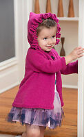 Knitting Pattern -Toddler-10yrs Girls Ruffle Hooded Coat  (4 sizes) PO167