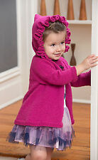 Knitting Pattern -Toddler-10yrs Girls Ruffle Hooded Coat  (4 sizes) PO167