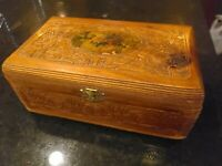 Antique Wood Jewelry Box   Cedar   Hand-Carved   Floral Appliqué   Touching Note