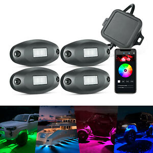 NEW 4 Pods RGB LED Rock Lights Off-road Bluetooth Controller Underbody Neon Lamp
