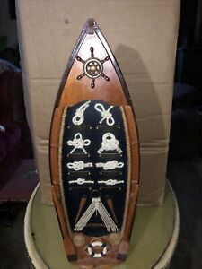 """Vintage NAUTICAL KNOT DISPLAY SHADOW BOX ROW BOAT With Oars 18"""""""