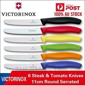 Genuine 6 X Victorinox Swiss 11CM Serrated Steak Knives ,Tomato, Sausage Knife