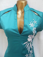 Turquoise Oriental Chinese PARTY EVENING dress size 22