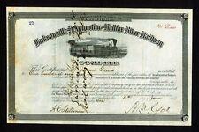 Jacksonville St Augustine & Halifax River Railway 1883 Florida Stock Certificate