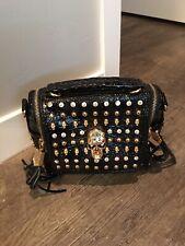 Unique  BLING Black  Skeleton Studded Handbag Purse