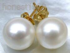 10.2mm AAA+++ perfect round white south sea pearl stud earring 18k yellow gold