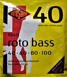 Rotosound Electric Bass Strings. Nickel on Steel Roundwound. Roto Bass. RB40