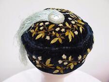 Antique Victorian Floral Embroidered Navy Velvet  & Blue Tassel Smoking Cap Hat
