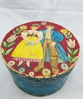 Antique Primitive German Folk Art Hand Painted Wedding Bent Wood Bridal Box