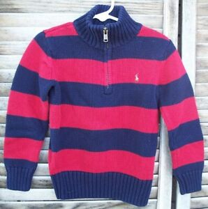 POLO by RALPH LAUREN red & blue striped 1/4 zip sweater~boy's size 5~l/s~