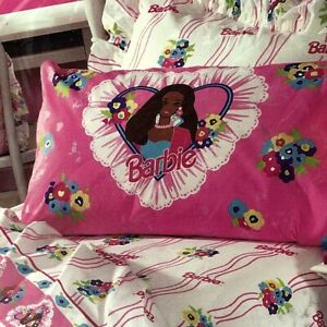 Vintage Pink Barbie African American 3 Piece Twin Sheet Set