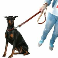 Genuine Braided Leather Dog Leash Lead Heavy Duty for Medium Large Dogs Training