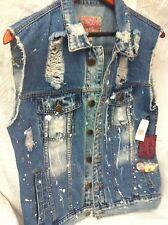 Brooklyn Mens Distressed Denim Jean Vest Jacket Size Medium