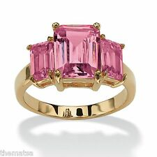 TRIPLE BIRTHSTONE PINK TOURMALINE OCTOBER 18K GOLD GP RING SIZE  5 6 7 8 9 10