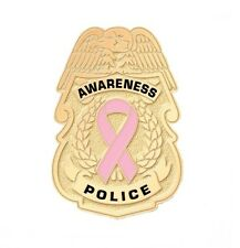 Pink Ribbon Police Badge Breast Cancer Awareness Collar Cap Gold Plated New
