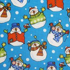 Blu 100% cotone tessuto con un Natale Jolly Pupazzi di Neve Inverno Scena (per Metro)