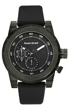Marc Ecko Mens The Roller Multifunction Textured Black IP SS Case Rubber Watch