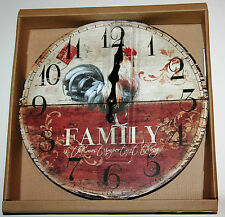 Wall Kitchen Clock - COCKEREL 'Family is the most important thing' Design 30cm