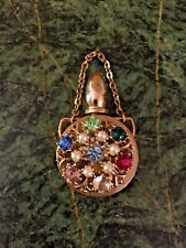Vintage 1950's Rhinestone Mini Perfume Bottle Dangle / Charm