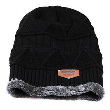Mens Womens Knitted Chunky Beanie Outdoor Fleece Warm Winter Ski Hat Cap Fur US