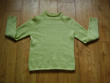 M & S 61% Mohair Pull vert pomme taille 10 Boxy/flou