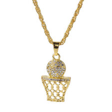 """Men's Hip Hop Gold Tone Basketball and Net Crystal Pendant 27.5"""" Chain Necklace"""