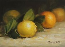 Small Original Daily Oil Painting a Day Realism Still Life Lemon 7x5 in by Z.Li