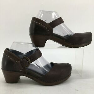 Dansko Makena Mary Jane Clogs Pumps Women 39 Brown Leather Block Heel 9306457800