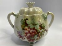 Vintage Germany Sugar Bowl Grapes & Grape Leaves Design