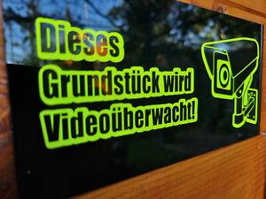 Dieses Grundstück wird Videoüberwacht Schild Schilder Acrylglas Schwarz 20x10