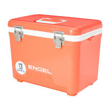 Engel 13 Quart 18 Can Leak Proof Odor Resistant Insulated Cooler Drybox, Coral