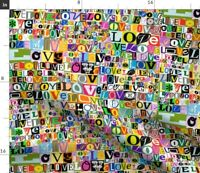 Love Valentine Valentines Day Letters Love Spoonflower Fabric by the Yard