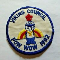 Vintage Scouts cloth badge, Viking Council, Pow Wow 1982, 3 inches diameter.