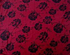 Bamboo Spandex Flower Print Fabric Jersey Knit by Yard Black Wine