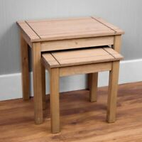 Panama Nest Of 2 Tables Natural Solid Pax Wax Finish Side Table By Home Discount