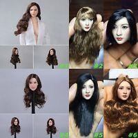 "New 1/6 Scale Asian Women Head Sculpt Long Hair For 12"" Female Figure Body Toys"