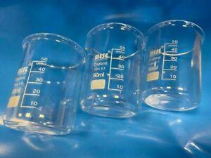 3x 50ml Borosilicate Glass Beakers, Low-Form