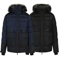 NEW MENS JACKETS HEAVY PADDED DETACHABLE FUR TRIM PUFFER WINTER Coat S-XL